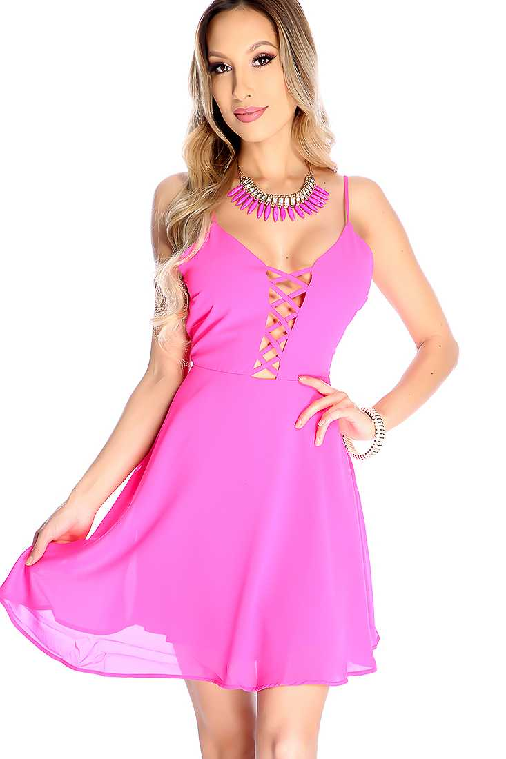 Sexy Fuchsia Sleeveless Strappy Design Cocktail Dress