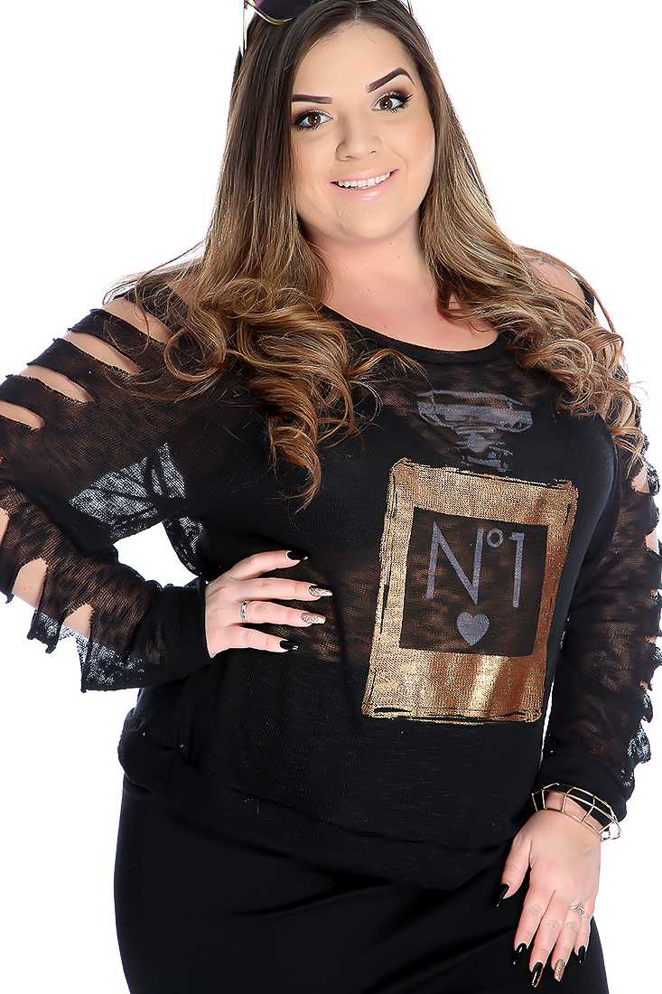 Stylish Black Strappy Cutout Long Sleeve Casual Top