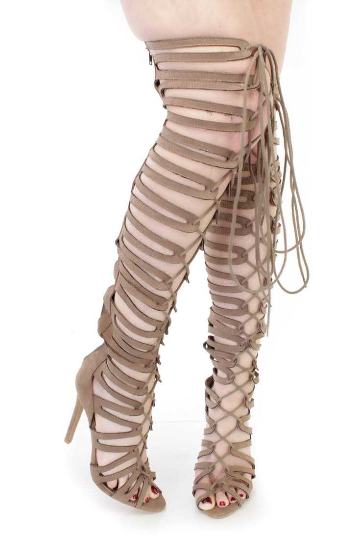 Taupe Thigh High Single Sole Gladiator Heels Faux Suede
