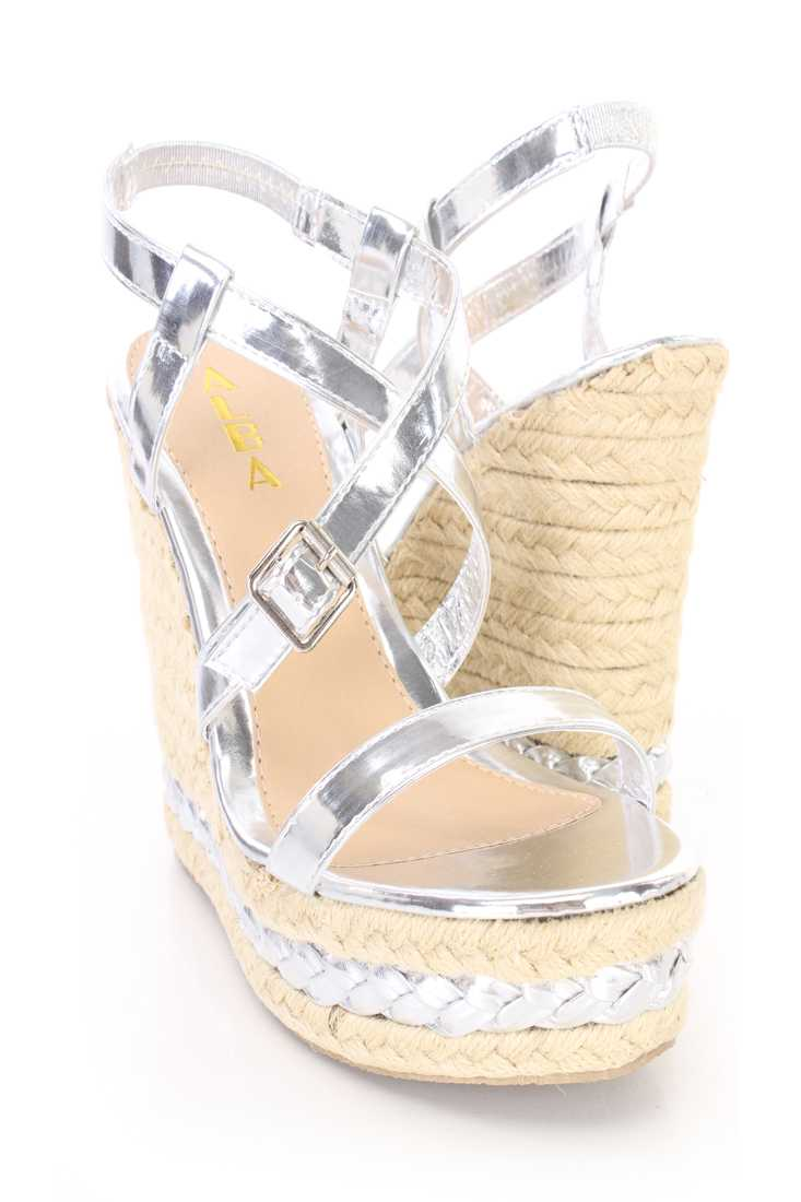 Silver Cross Strappy Espadrille Platform Wedges Faux Leather