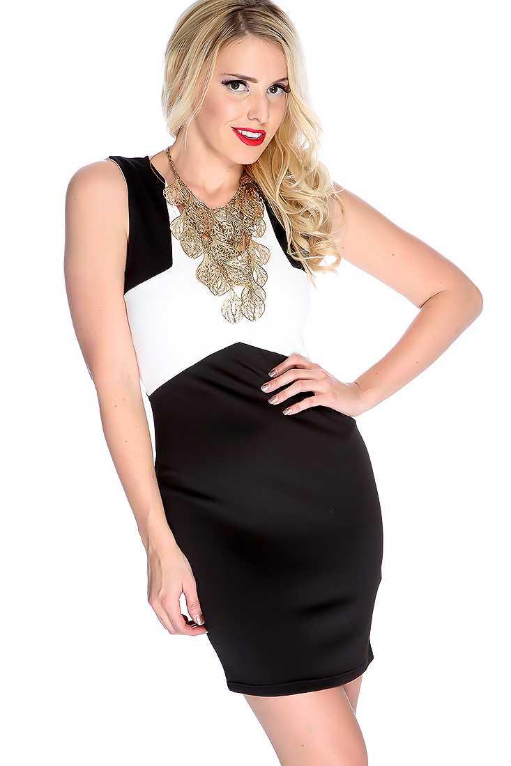 White Black Two Tone V Neck Sleeveless Party Dress