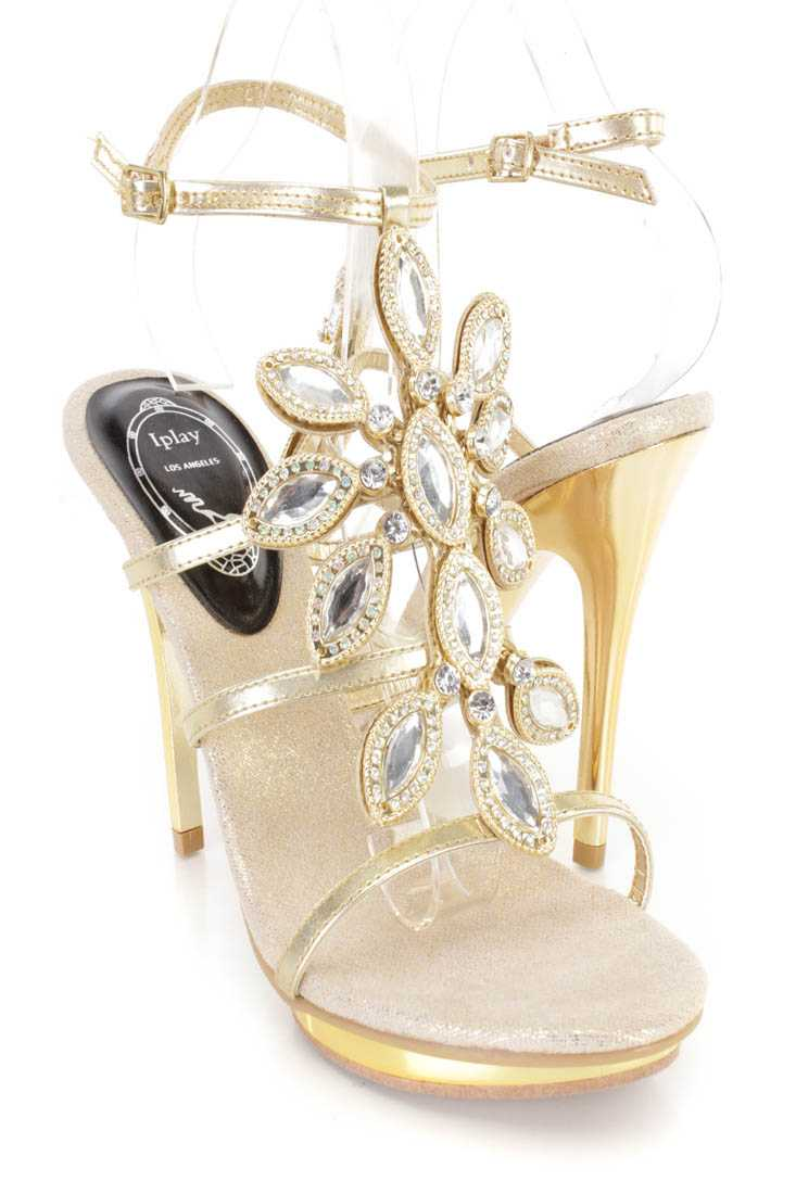 Gold Gemstone Strappy High Heels Faux Leather