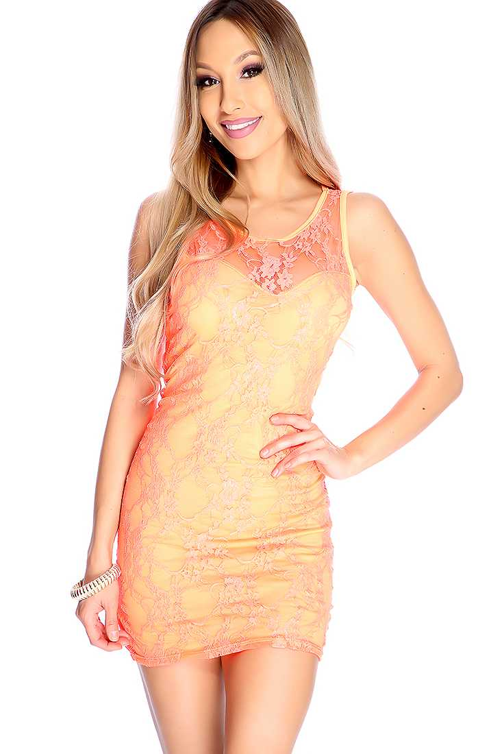 Sexy Neon Orange Floral Lace Sleeveless Party Dress