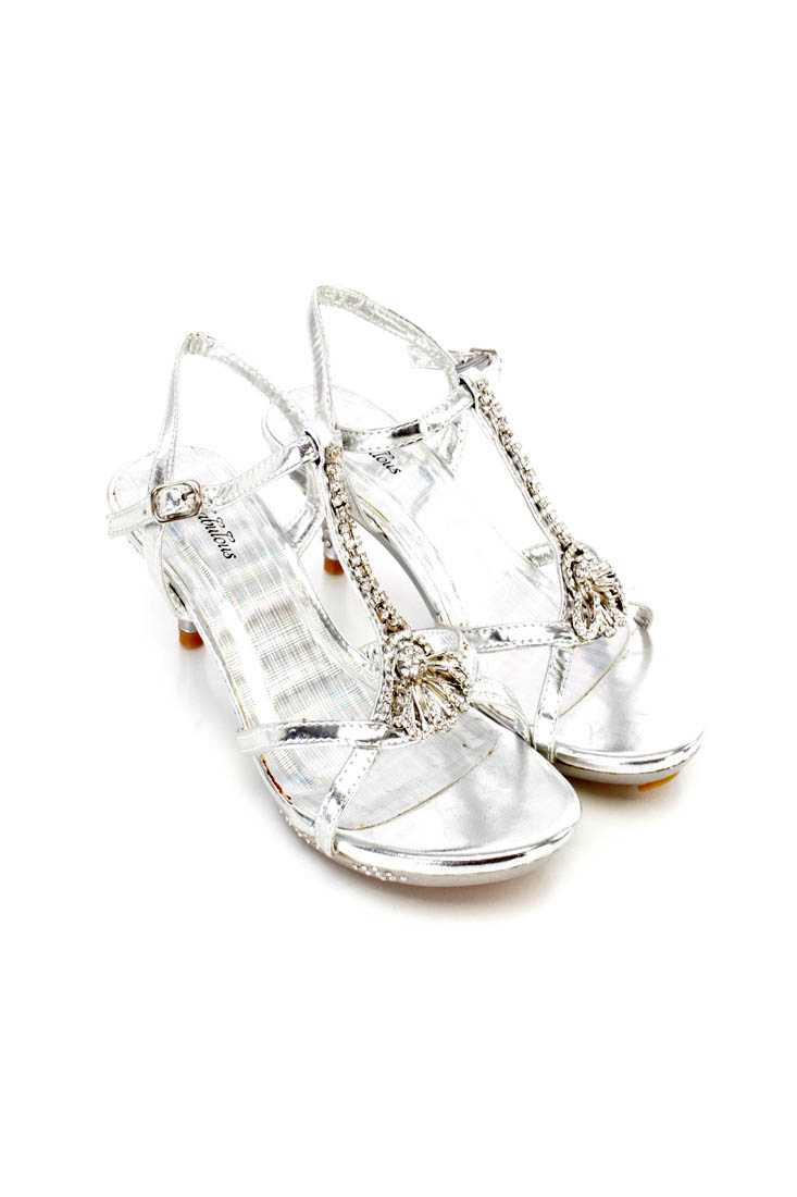 Silver Rhinestone Decor Strappy Kiddie Heels Faux Leather