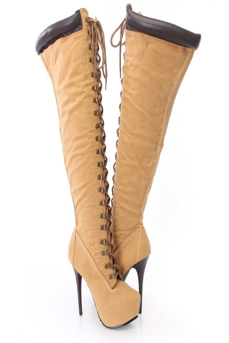 Tan Lace Up Thigh High Platform Boots Faux Leather