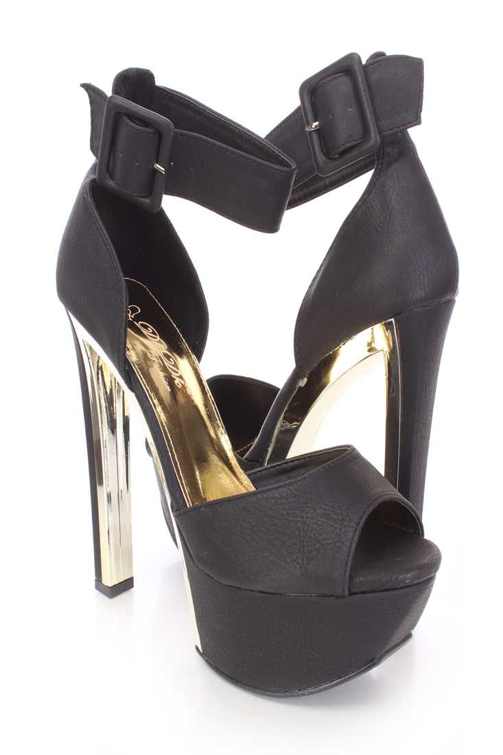 Black Peep Toe Platform Heels Faux Leather