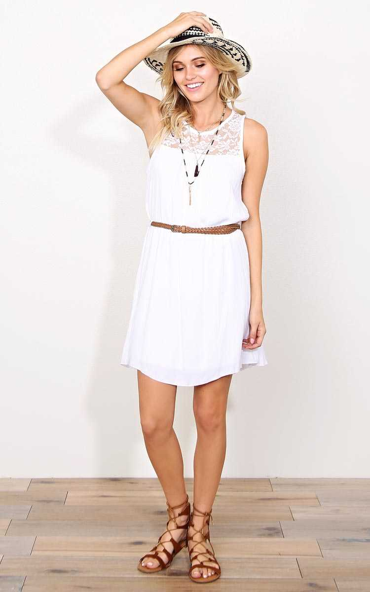 Clean Slate Woven Gauze Dress - - White in Size by Styles For Less