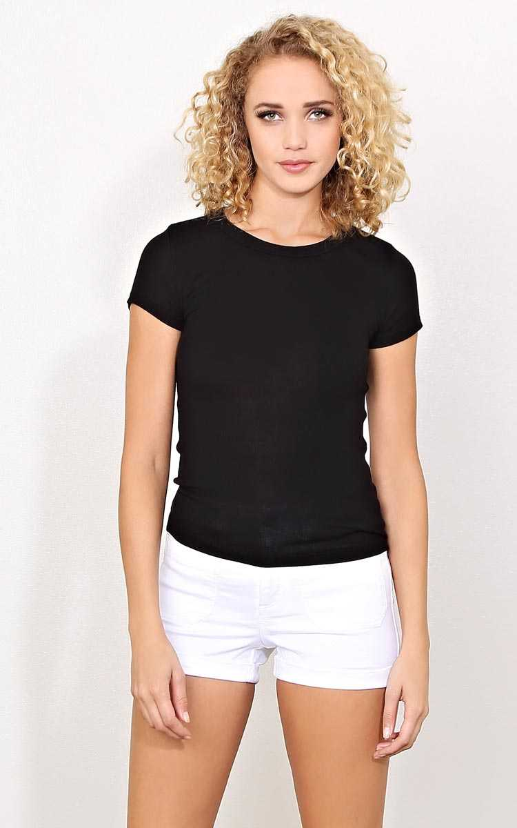 Black Simplicity Rib Knit Top - - Black in Size by Styles For Less