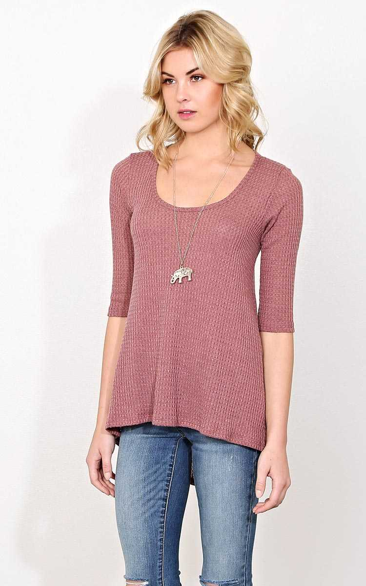 Tara Waffle Knit Necklace Top - - Mauve in Size by Styles For Less