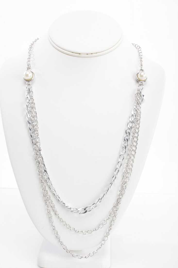 Silver Chain Draped Link Faux Pearl Necklace