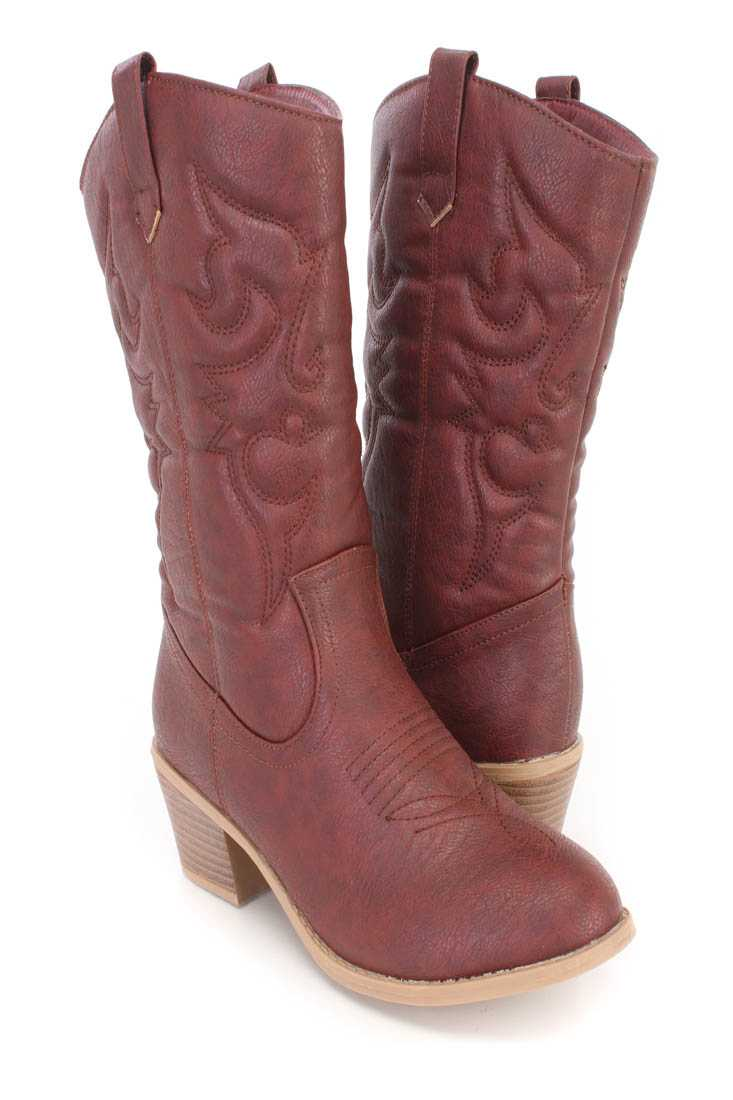 Wine Stitching Detailing Cowboy Boots Faux Leather