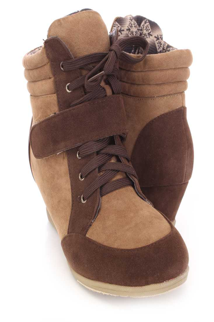 Coffee Camel Two Tone Sneaker Wedges Faux Suede