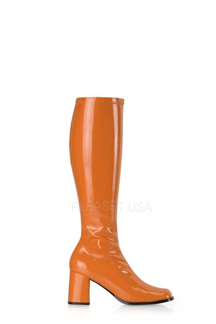 Orange Chunky Heel GoGo Boots Patent Faux Leather
