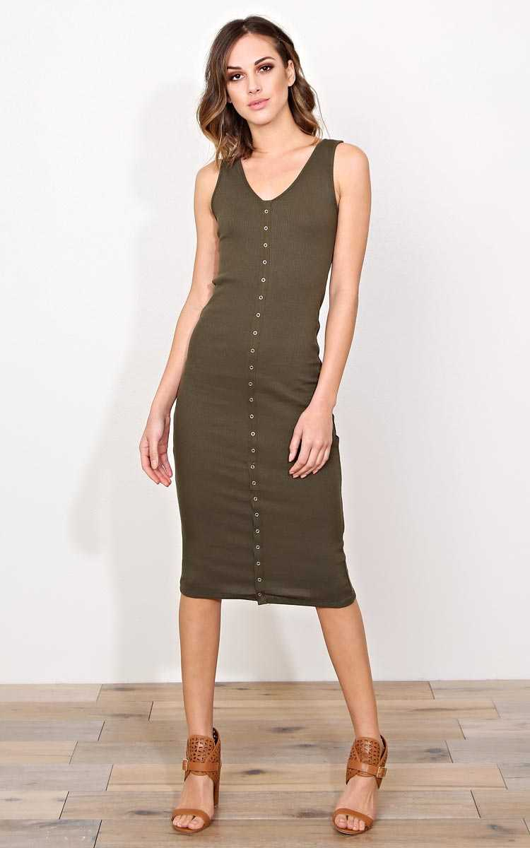 Carson Rib Knit Midi Dress - MED - in Size Medium by Styles For Less