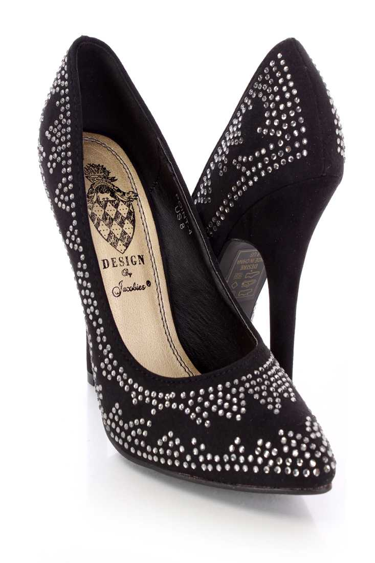 Black Rhinestone Single Soles Faux Suede
