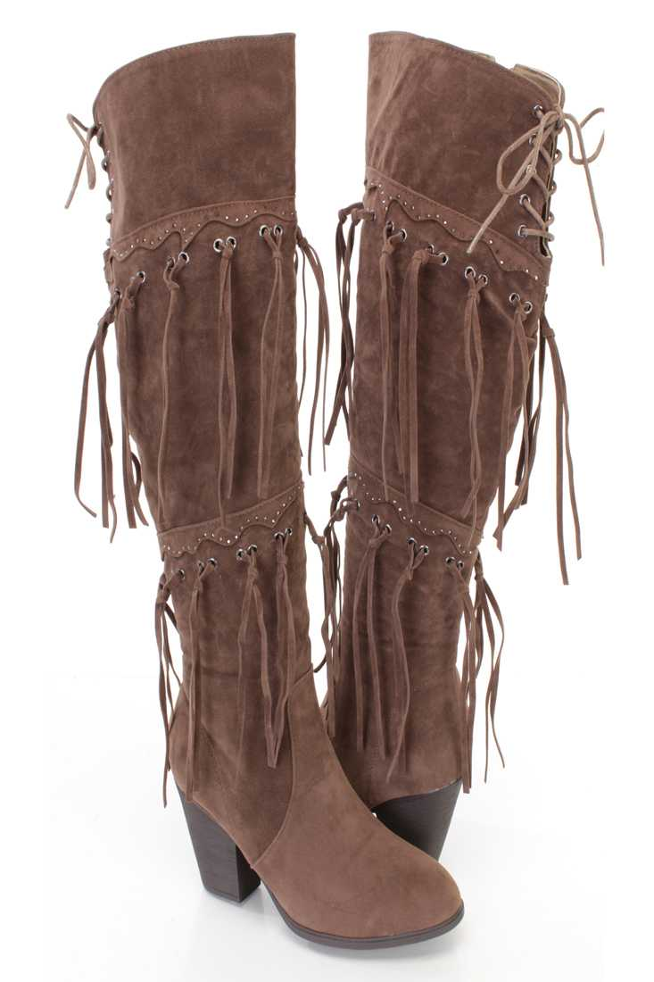 Brown Fringe Studded Detail Chunky Heel Boots Faux Suede