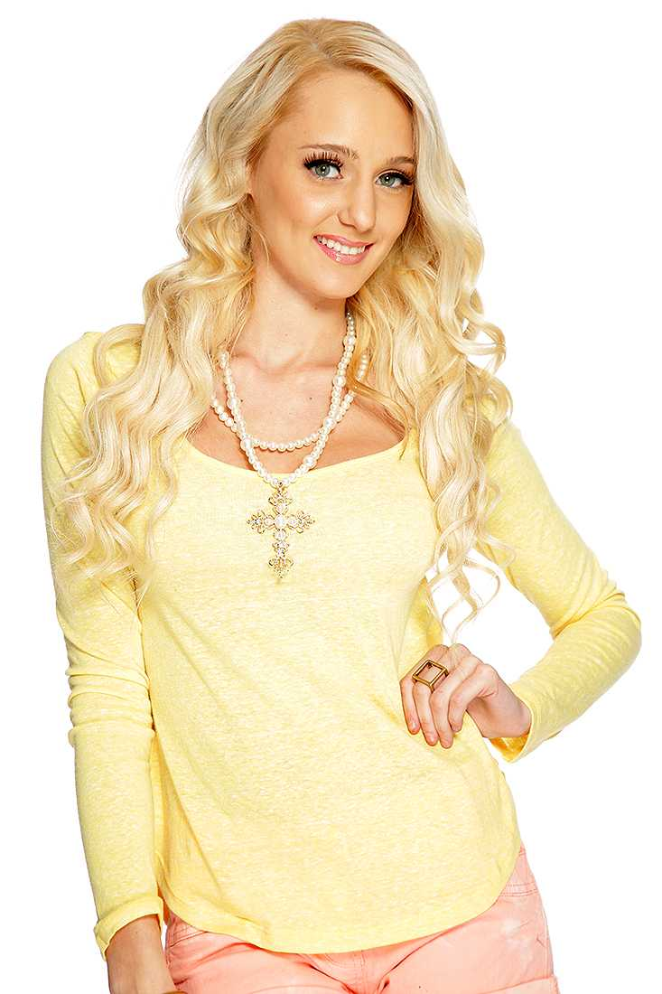 Yellow Burnt Out Long Sleeve Casual Top