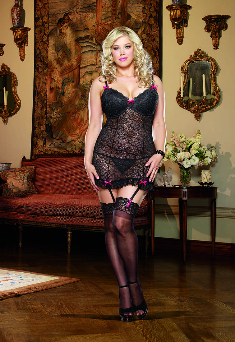 Black Stretch Lace Garter Slip Lingerie Plus Size