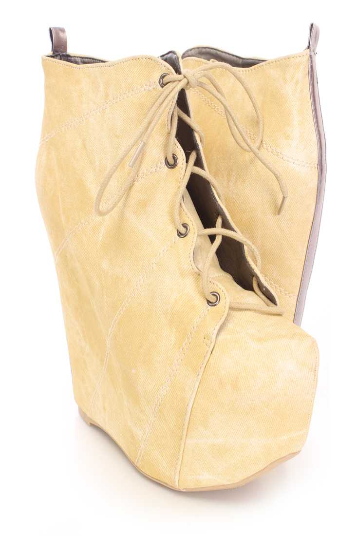 Yellow Lace Up Wedge Ankle Booties Faux Leather
