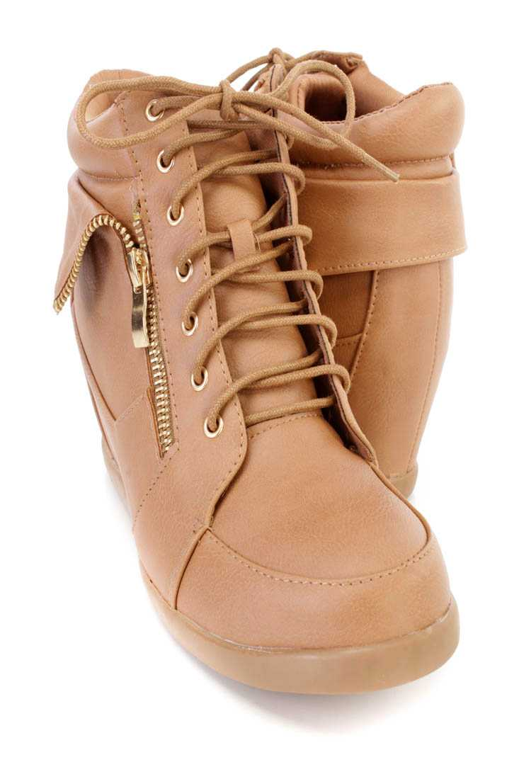Tan Zipper Folded Sneaker Wedges Faux Leather