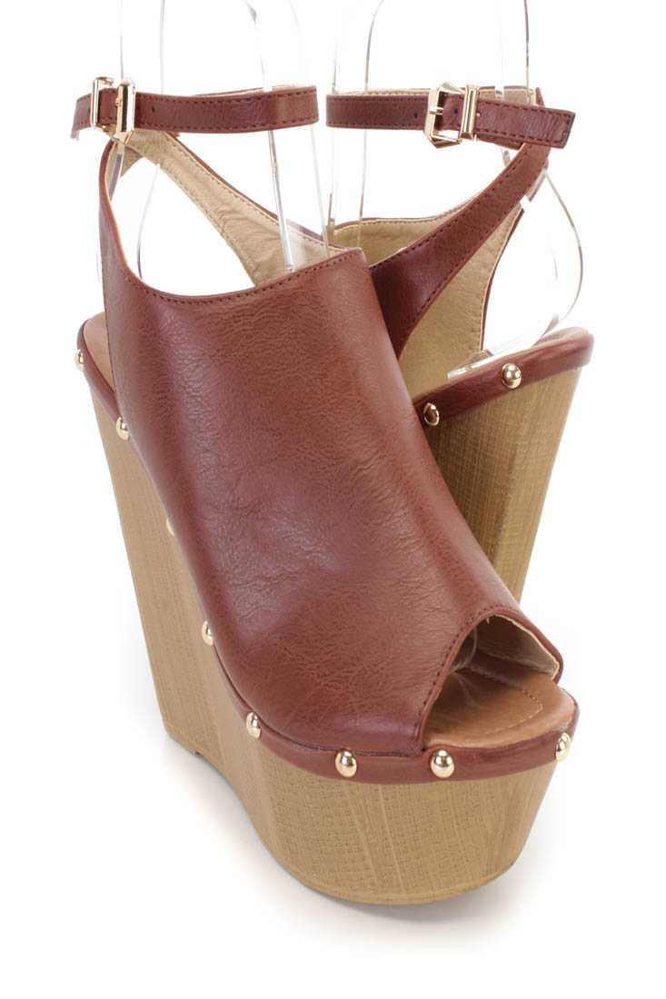 Brown Studded Slingback Platform Clog Wedges Faux Leather