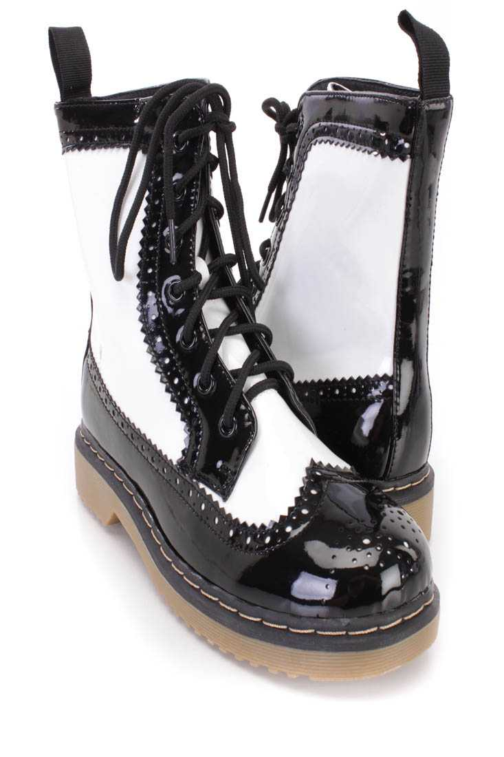 White Two Tone Wing Tipped Toe Combat Boots Faux Leather