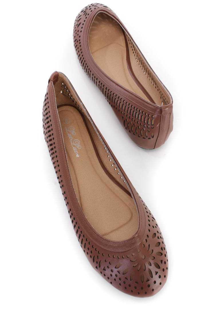 Dark Brown Faux Leather Perforated Closed Toe Flats