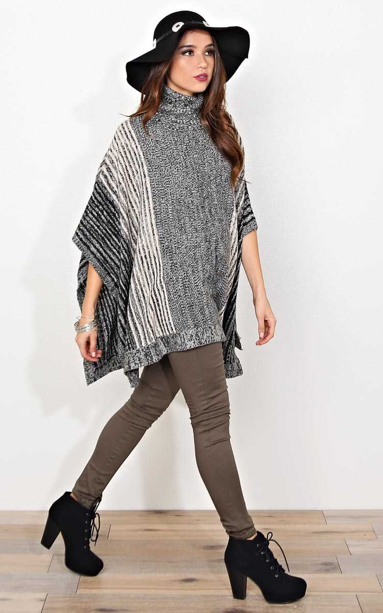 Winter Nights Sweater Knit Poncho - - Black Combo in Size by Styles For Less