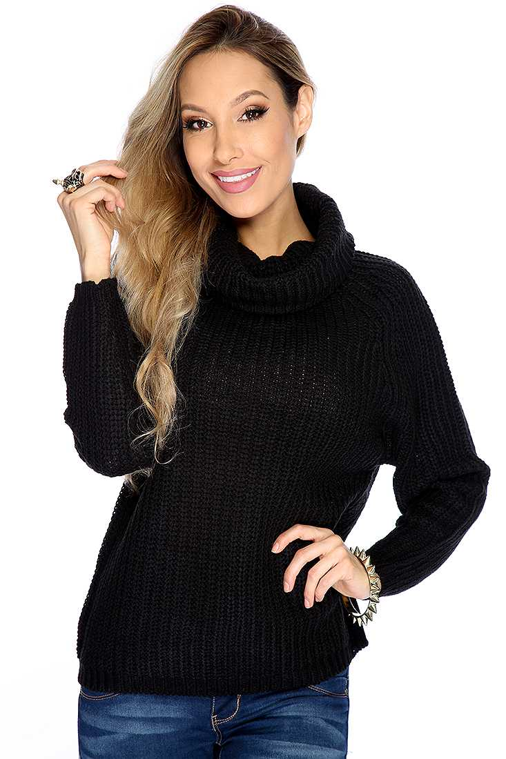 Black Knitted Turtle Neck Long Sleeve Sweater Top