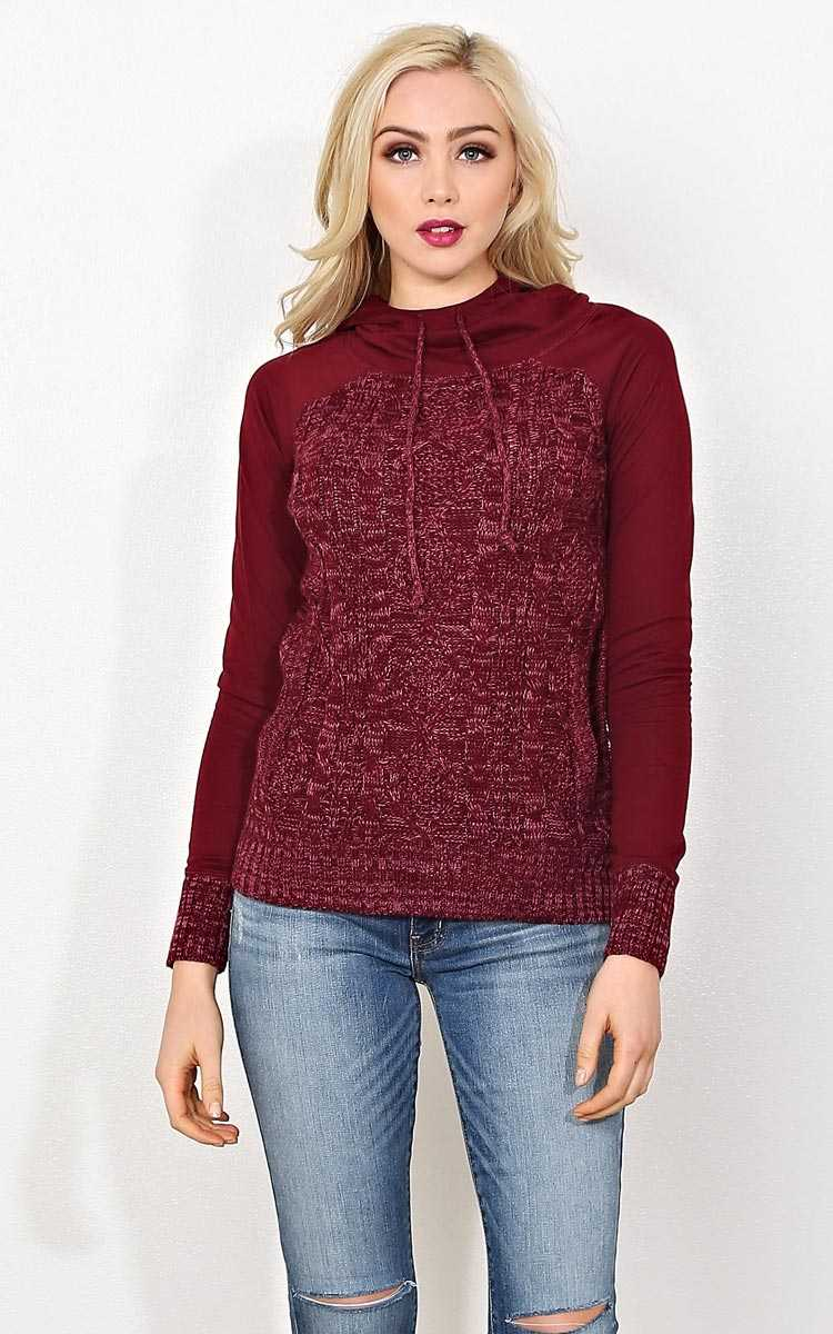 Brittany French Terry Hoodie - SML - Burgundy in Size Small by Styles For Less