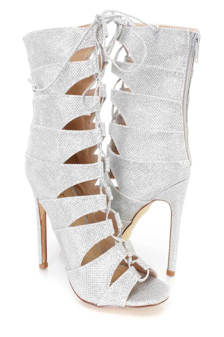 Silver Strappy Peep Toe Single Sole Booties Shimmer Fabric