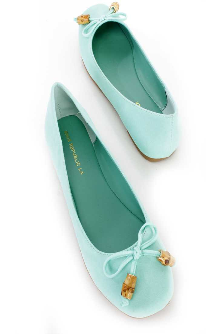 Mint String Bow Tie Ballet Flats Faux Suede