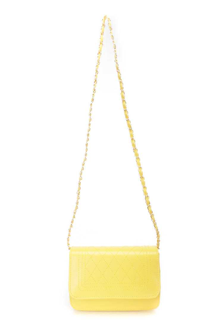 Yellow Faux Leather Handbag
