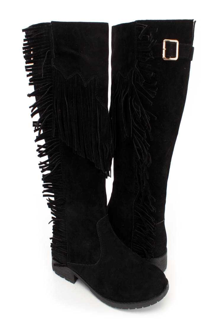 Black Fringe Detailed Side Boots Faux Suede