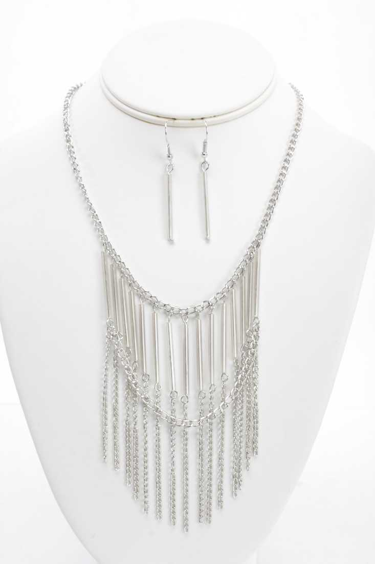 Silver Fringe Chain Beaded Necklace