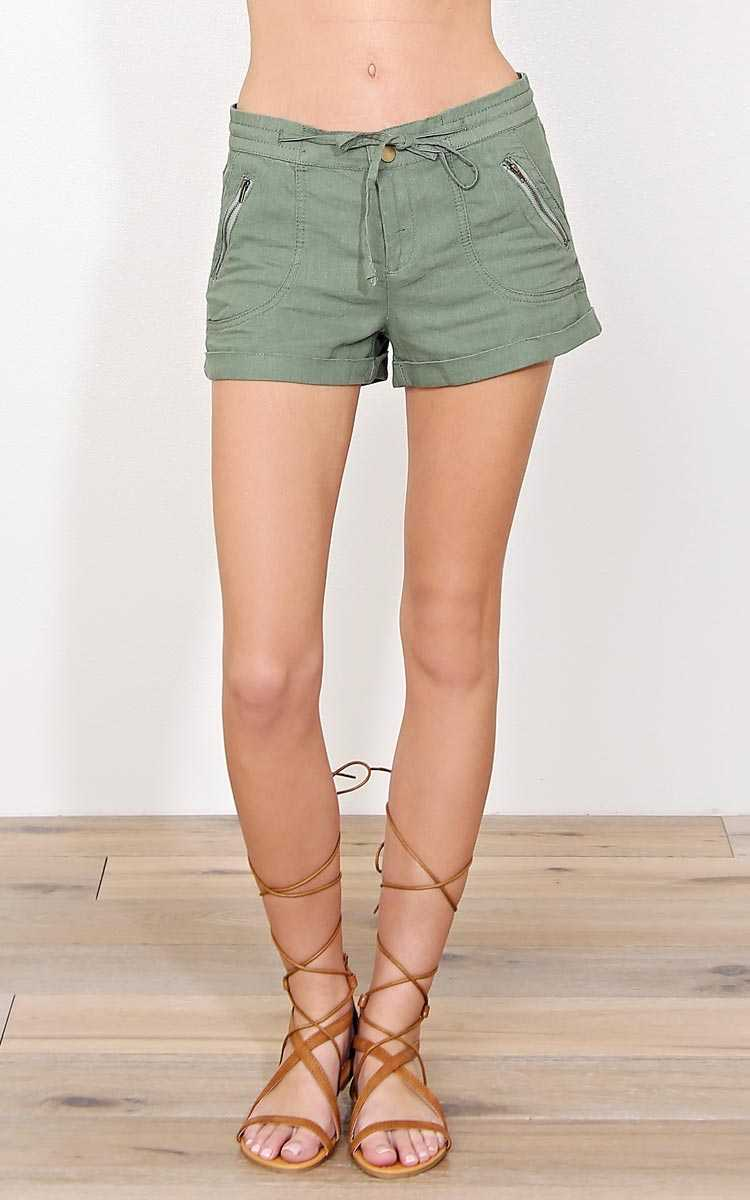 Montego Bay Linen Shorts - - Olive/Drab in Size by Styles For Less
