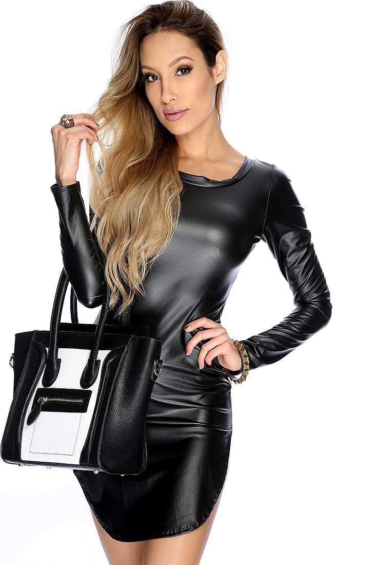 Sexy Black Faux Leather Long Sleeve High Slit Casual T-Shirt Dress