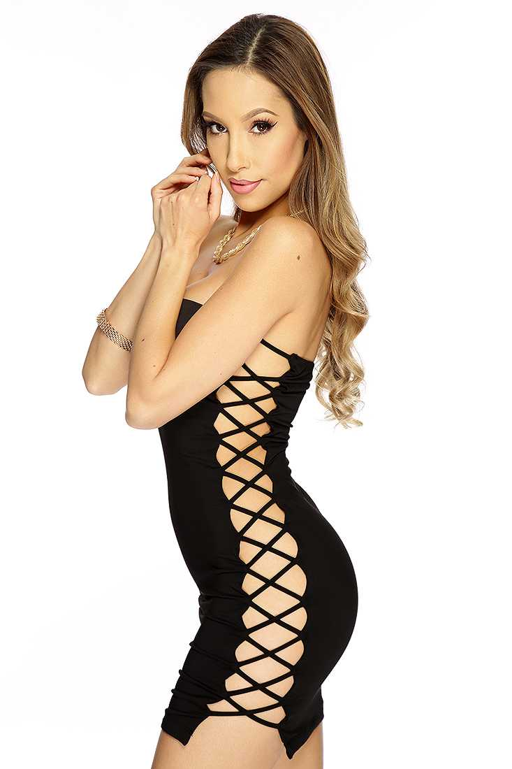 Black Side Cross Cut Out Strapless Sexy LBD