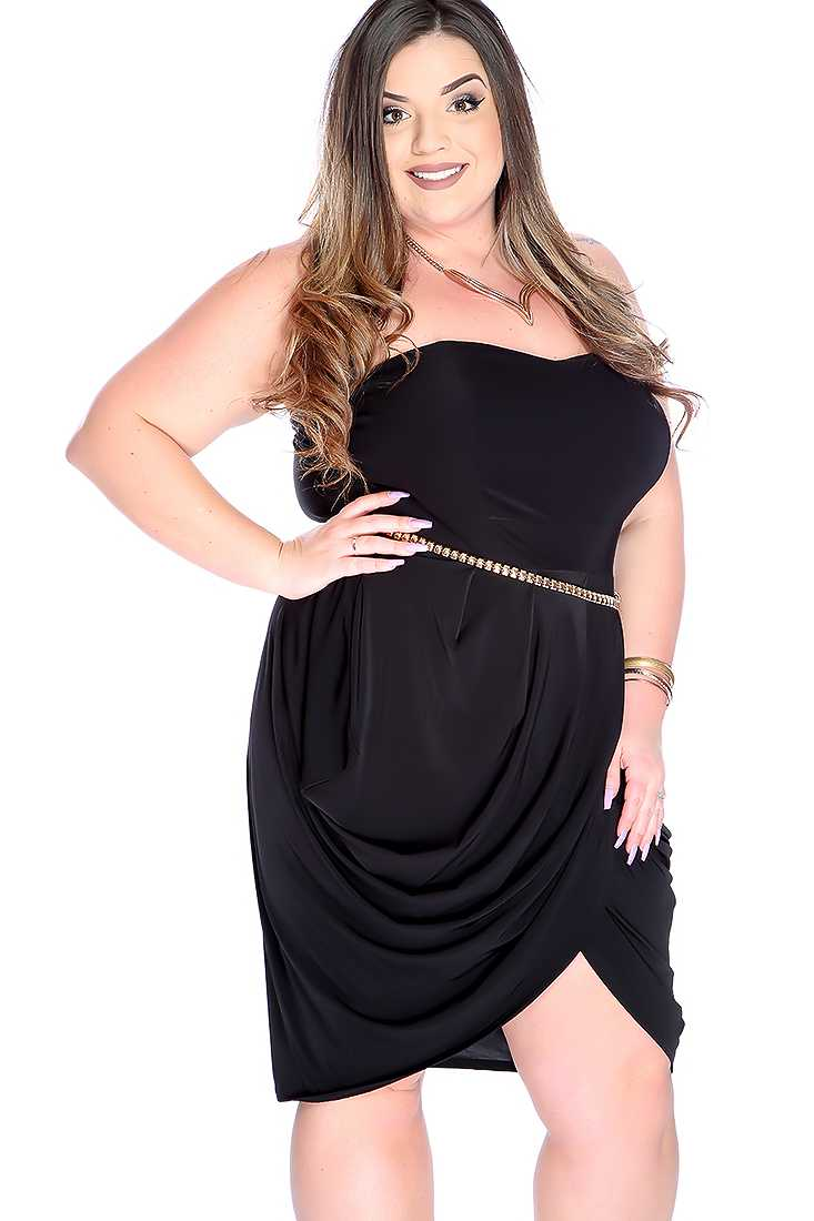 Sexy Black Plus Size Strapless Fitted Cocktail Dress