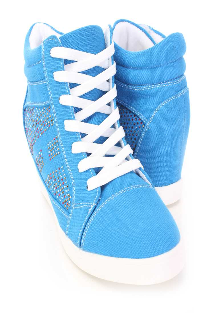 Blue Rhinestone Sneaker Wedges Canvas