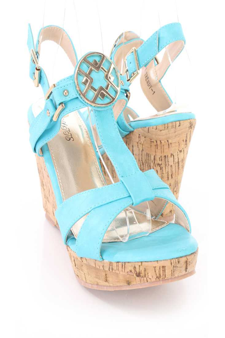 Blue High Polish Hardware Cork Wedges Faux Leather