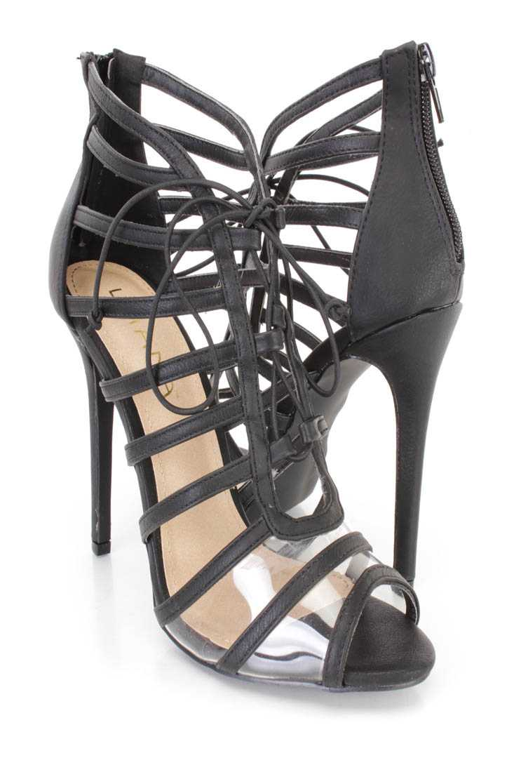 Black Peep Toe Strappy Single Sole Booties Faux Leather