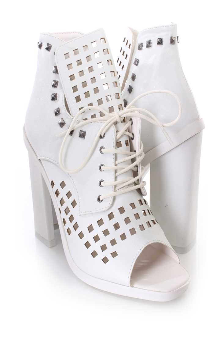 White Perforated Studded Single Sole Booties Faux Leather