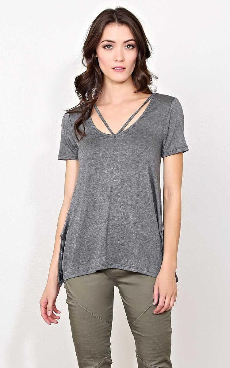 Hold Me Down Knit Top - LGE - Charcoal in Size Large by Styles For Less