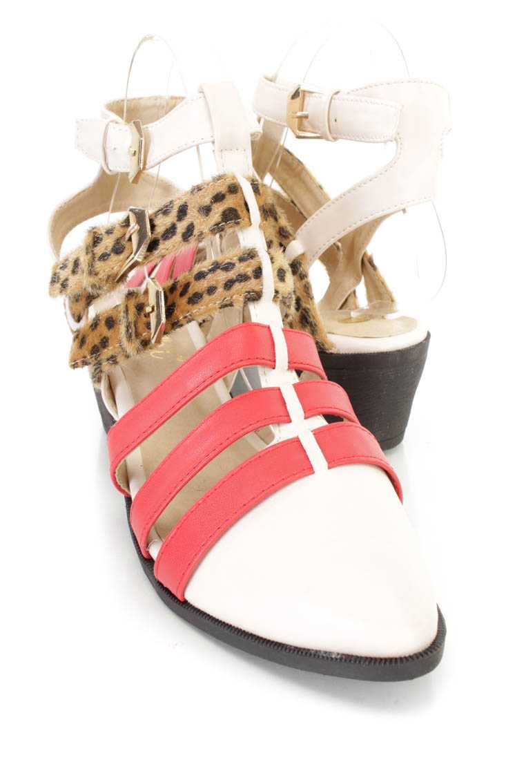 Beige Red Strappy Animal Buckle Flats Faux Leather