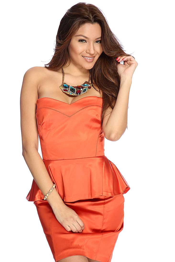 Red Orange Strapless Peplum Sexy Dress