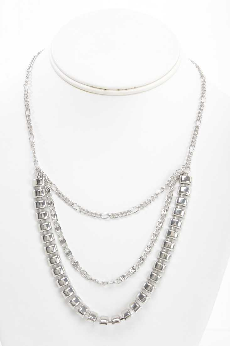 Silver High Polish Chain Draped Necklace