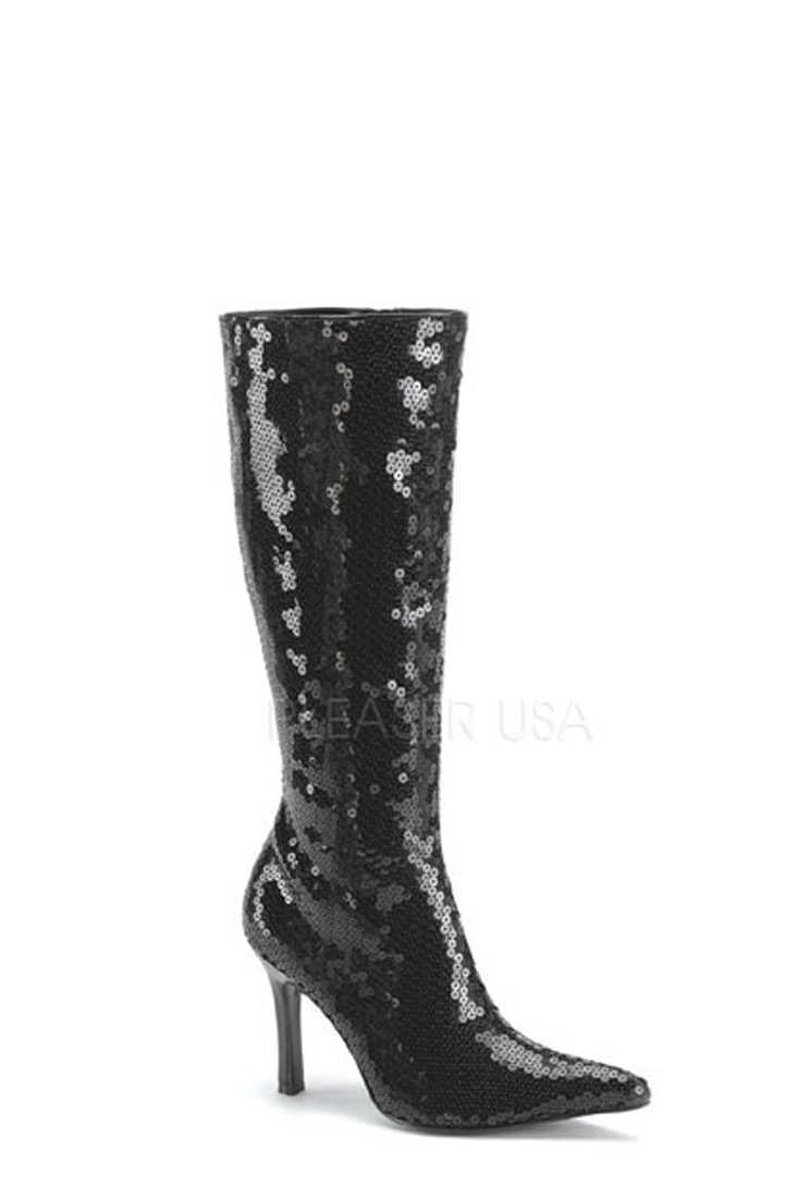 Black Pointed Toe Knee High Boots Sequins