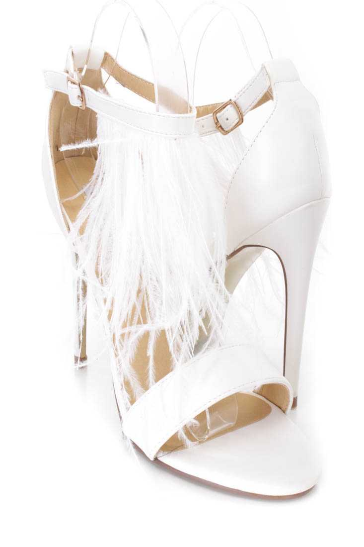 White Marabou Feather Single Sole Heels Faux Leather