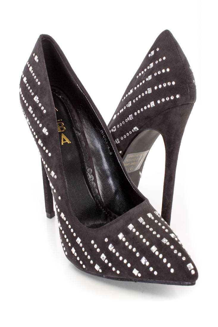 Black Silver Rhinestone Studded Single Sole Pump High Heels Faux Suede